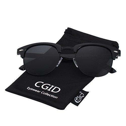 CGID Classic Polarized Semi Rimless Unisex Horn Rimmed Sunglasses Mens Womens (Frame Inspired Black Sunglasses)