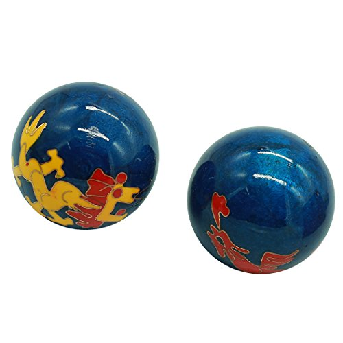 baoding health balls chinese exercise stress balls craft collection (dragon&phoenix blue, s)