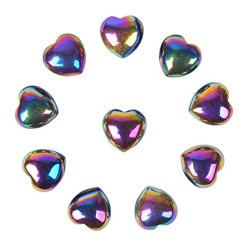 (Justinstones Coated Rainbow Hematite Gemstone Healing Crystal 0.8 inch Mini Puffy Heart Pocket Stone Iron Gift Box (Pack of 10))