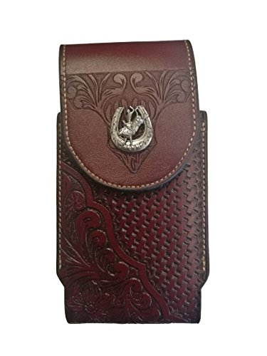 (Western Cowboy Leather Smartphone Phone Holder Holster Basketweave/Flower Pattern Tooled)