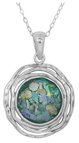 Sterling Silver Round Shape Roman Glass Pendant (chain NOT included) (BTTS-NP11649-RG)