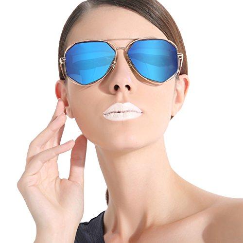 CHB Flat Mirrored lens street fashion Irregular Metal frame sunglasses polarized - Sunglasses Keeper Costa Cord