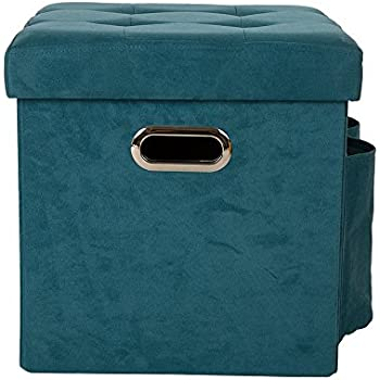 Glitzhome Foldable Faux Suede Cube Storage Ottoman With Padded Seat  Turquoise