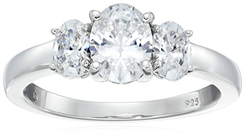 Platinum-Plated Sterling Silver Oval-Shape 3-Stone Ring made with Swarovski Zirconia (3 cttw), Size 9 ()
