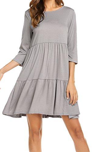 04b6bb6b874864 Newchoice Women s 3 4 Long Sleeve Tunic T-Shirts Dress Casual Ruffle Swing  Shift