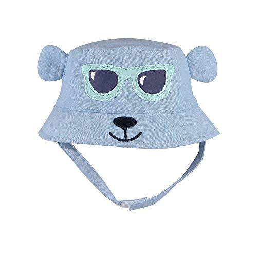 (Baby Boy Sun Hat with Chin Strap Infant Toddler Girl Bucket Summer Cap Denim Cotton)