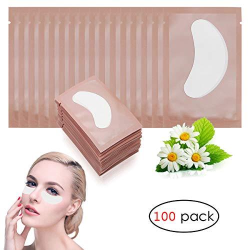 Adecco LLC 100 Pairs Under Eye Pads Lint Free Lash Extension Eye Gel Patches for DIY False Eyelash Extension Makeup