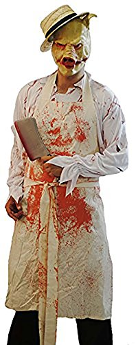 HALLOWEEN-AMERICAN HORROR STORY EVIL PIG BUTCHER COSTUME Apron, blood pack, plastic weapon, latex mask & straw (Butcher Pig Costumes)