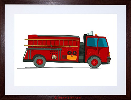 (Wee Blue Coo The Art Stop Kids American FIRE Truck RED Yellow Firemen Framed Print F97X4276)