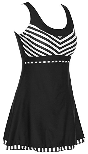 Womens-One-Piece-Sailor-Striped-Swimsuit-Plus-Size-Tankini-Cover-up-Swimdress