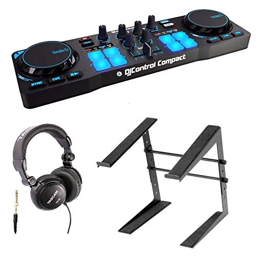 Hercules DJControl Compact Portable DJ controller Bundle with Headphones and Stand