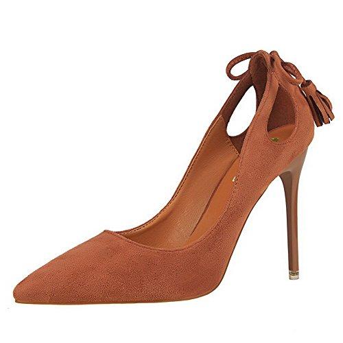 Aalardom Femmes Matériaux Mélangés Pointes-talons Aiguilles-à Bout Pointu Pompes-chaussures Avec Noeud Papillon Khaki-glands