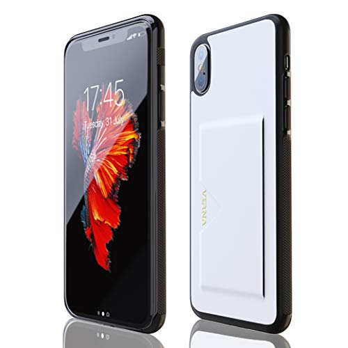 Holder Card Slot (Verna iPhone X/iPhone Xs Case, Slim PU Leather Case with Card Holder Slot, Compatible with Apple iPhone X/iPhone Xs - White)