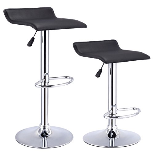 Set of 2 Adjustable Swivel Bar Stools Chairs PU Leather Pub Counter Barstools Kitchen Backless (Acrylic Viva Bar Stool)