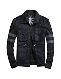 MedzRE Men's Retro Style Faux Leather Rider Motorcycle Slim Jacket