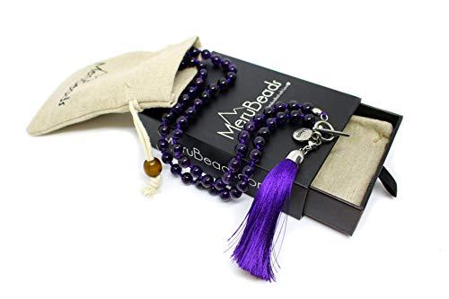 Premium 6mm Amethyst Mala Beads Necklace - Mala Necklace - Yoga Jewelry - Meditation Necklace - Wrap - Necklace Amethyst Wrap