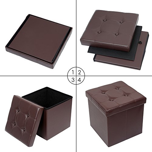 Amoiu 15'' x 15''x 15'' Folding Storage Ottoman Cube Foot Rest Stool Seat Coffee Table - Faux Leather, Brown by Amoiu (Image #6)