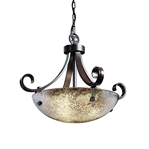 Justice Design Group Fusion 3-Light Pendant - Dark Bronze Finish with Mercury Glass Artisan Glass Shade (Fusion Scrolls)