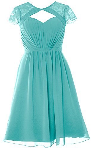 Party Short Bridesmaid Gown Formal Cap MACloth Turquoise Dress Wedding Sleeves Elegant CxqwUt0