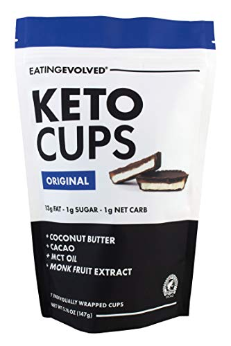 Evolved Chocolate, Keto Cups Original | Vegan, Gluten-Free, Coconut Butter, Cacao, MCT Oil, 1g Sugar, 1 Net Carb, 5.18 Ounce (1)