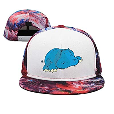 ZhongQi Hippopotamus Cartoon Blue Hippo Man Hip hop Contrast Color Cap Snapback Hat Trucker Hat
