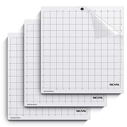 Nicapa Cutting Mat for Silhouette Cameo 3/2/1 [Standardgrip,12x12 inch,3pack] Adhesive&Sticky Non-Slip Flexible Gridded Cut Mats Replacement Matts Accessories Set Vinyl Craft Sewing Cloth ()
