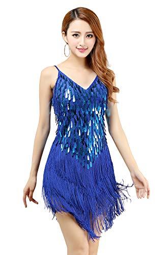 Women's 1920s Fringe Sequins Dance Dress V-Neck Sexy Cocktail Dress Vintage Flapper Ballroom Dance Costume, Blue ()