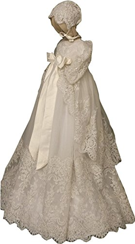- Newdeve Beading Ivory Lace Christening Baptism Gowns Long Unisex Babies (6-9 Months)