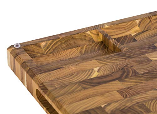 Large End Grain Teak Wood Cutting Board with Built-in Compartments, Non-slip: 17x13x1.5 with Juice Groove (Gift Box Included) by Sonder Los Angeles by Sonder Los Angeles (Image #7)