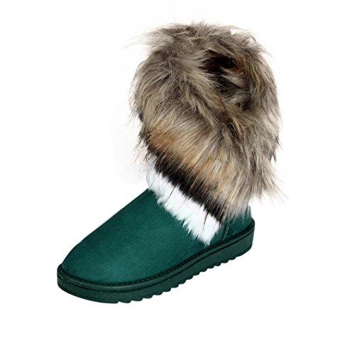 Botas Mujer,Ouneed ®Botas de mujer de moda plana de piel de tobillo forrado de invierno caliente zapatos de nieve Azul