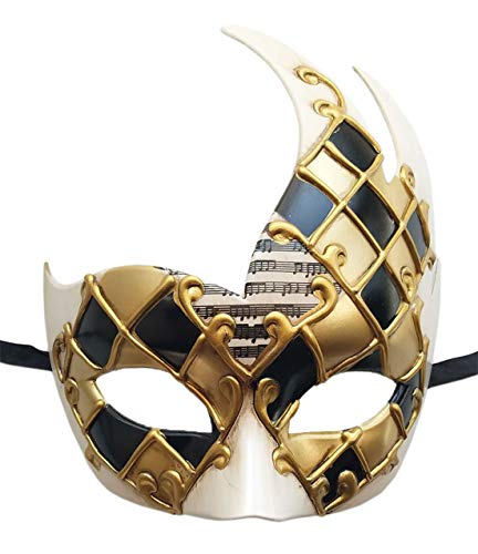 Mens Masquerade Mask Checkered Cracked Vintage Prom Halloween Mardi Gras Venetian Party Mask (A Gold Checkered)