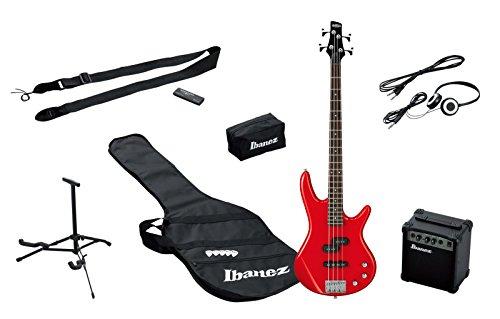 Ibanez IJSR190-RD E-Bass Starter Set mit Verstärker (Tasche, Stimmgerät, Kopfhörer, Zubehör) rot
