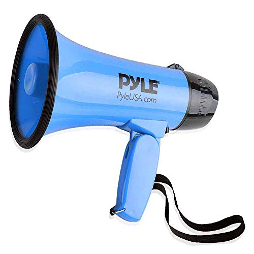 (Portable Megaphone Speaker Siren Bullhorn - Compact and Battery Operated with 30 Watt Power, Microphone, 2 Modes, PA Sound and Foldable Handle for Cheerleading and Police Use - Pyle PMP31BL (Blue))