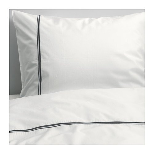 Ikea Bedding 3 Piece Full / Queen Duvet Cover Set White with Raised Metallic Stripe -- Haxort