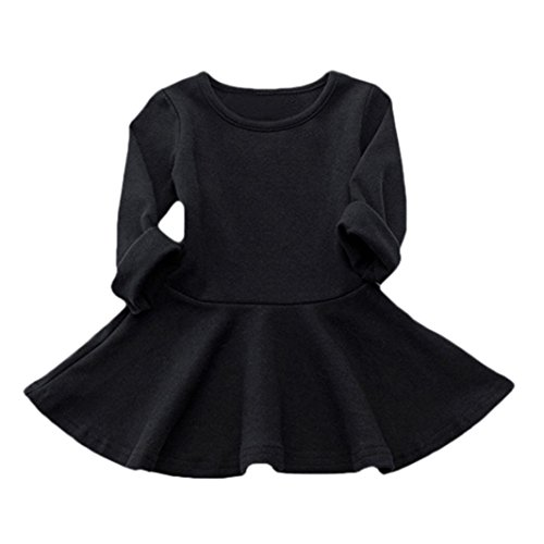 Winter Wonderland Dress Up Ideas (Baby Clothes, Egmy Cute Baby Girls Candy Color Long Sleeve Solid Princess Casual Toddler Kids Dress (Size:4T, Black))