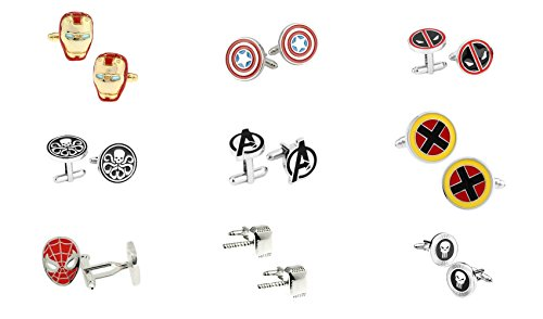 - Marvel Comics Superhero Assorted Logos (9-Set) Wedding Groomsman Cufflinks w/Gift Box By Athena