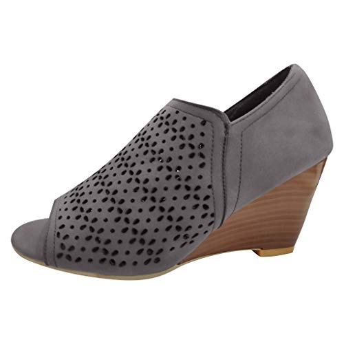 Meigeanfang Womens Fashion Fish Mouth Pure Color Hollow Out Wedge Sandals(Gray,36)