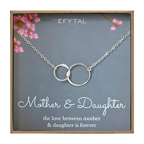 EFYTAL Mother Daughter Necklace - Sterling Silver Two Interlocking Infinity Double Circles, Mothers Day Jewelry Birthday -