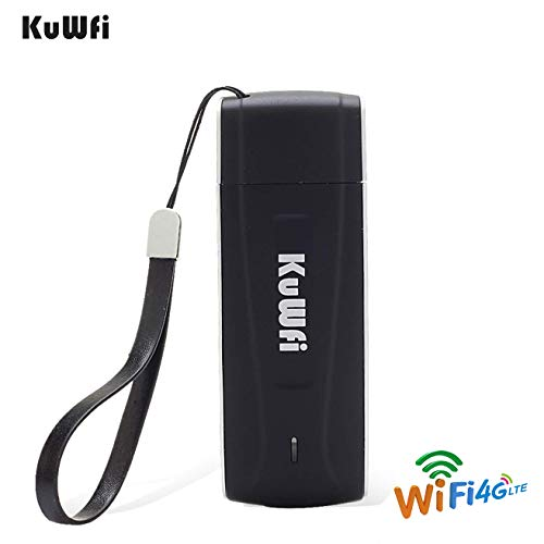 KuWFi Unlocked Pocket 4G LTE USB Modem Router mobile WiFi Router Network Hotspot 3G 4G WiFi Modem Router with SIM Card Slot Support LTE B1/B3/B5 WiFi for Car outdoor Not applicable T-Mobile EU Version (Iphone 5 Without Contract Att)