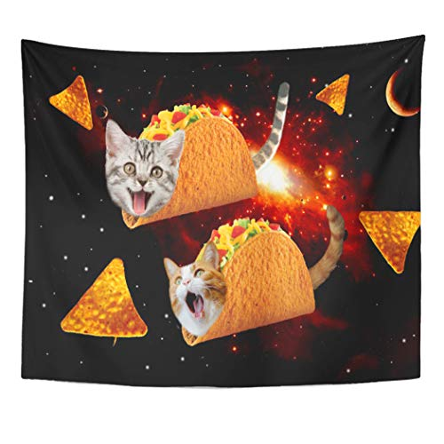 Semtomn Tapestry Artwork Wall Hanging Mexican Taco Cats Space Funny Cute Memes Galaxy Cool 60x80 Inches Tapestries Mattress Tablecloth Curtain Home Decor Print