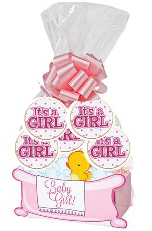 It's a Girl Baby Shower Baby Girl 6pack Sugar Cookies in a Gift Basket Box