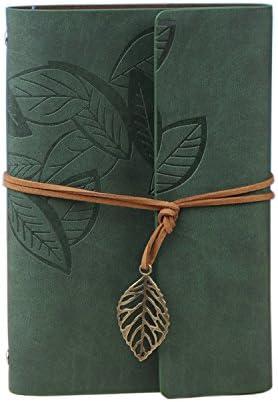 Cuaderno recargable/Diario/Álbum/Cuaderno de bocetos con cubierta de cuero de la PU Patrón de hojas (De color verde oscuro, 7.3 × 5.2 pulgadas, 185 * 130 mm) -Wenosda