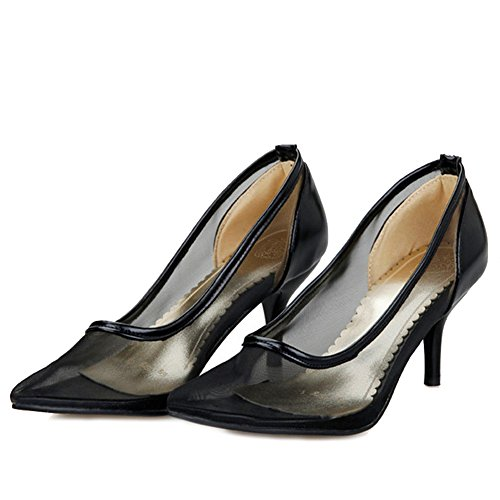 SJJH Women Court Shoes with Transparent Materail and Special Working Shoes for Office Ladies Comfortable Summer Shoes Black fz7N16YCX
