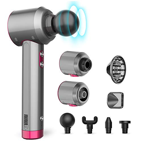 Multifunctional Massage Gun, MANLI Muscle Massage Gun with 4 Massage Heads, Rechargeable LED Flashlight, Hair Dryers with Diffuser, Convenient Time Indicator 4 and 1 Set
