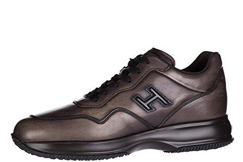 Hogan Chaussures Baskets Sneakers Homme en Cuir Interactive h 3D Marron