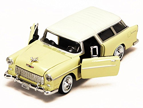 - 1955 Chevy Bel Air Nomad, Yellow - Motormax 73248 - 1/24 scale Diecast Model Toy Car