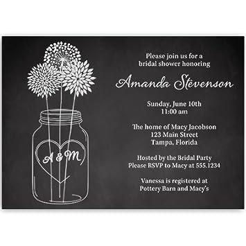 Amazon mason jar bridal shower invitations chalkboard wedding mason jar bridal shower invitations chalkboard wedding shower black white flowers filmwisefo Choice Image