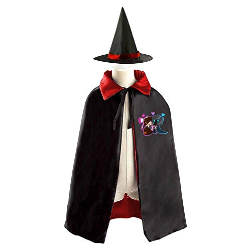VSHFGC Popular-MMOs Halloween Costumes Vampire Magician Witch Cloak Wizard Hat Suit for Girls Boys Red -