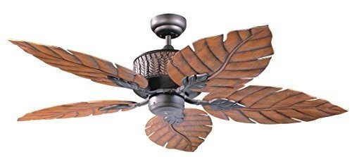 Kendal Lighting AC13152-ORB   Fern Leaf 52-Inch 5-Blade Ceiling Fan, Oil Rubbed Bronze Finish and Oak Fern Leaf Decorative Blades ()