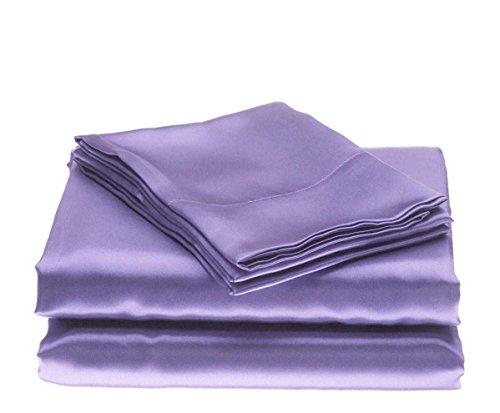 Bedding Emporium 100% Pure Silk Satin Sheet Set 7pcs, Silk Fitted Sheet 15'' Deep Pocket,Silk Flat Sheet,Silk Duvet Cover & Pillowcases Set !!! Queen, Lilac